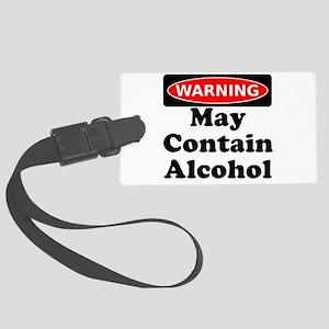 May Contain Alcohol Warning Luggage Tag