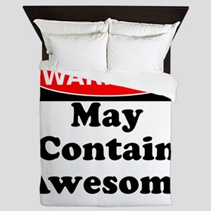 Warning May Contain Awesome Queen Duvet