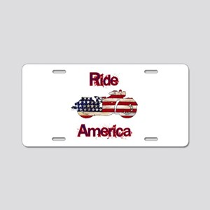 Flag-painted motorcycle-RIDE-1 Aluminum License Pl