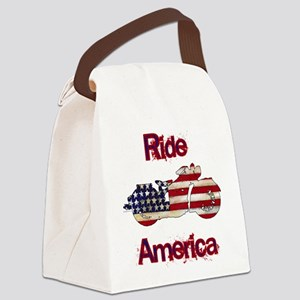Flag-painted motorcycle-RIDE-1 Canvas Lunch Bag