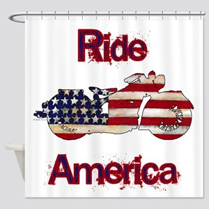 Flag Painted Motorcycle RIDE 1 Shower Curtain