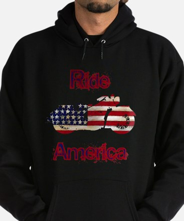 Flag-painted motorcycle-RIDE-1 Hoodie