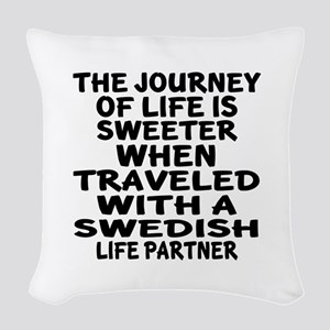 Traveled With Swedish Life Par Woven Throw Pillow