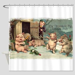 Drunken Pig Fitness Pub Shower Curtain
