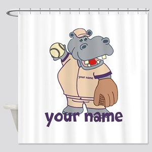 Personalized Softball Hippo Shower Curtain