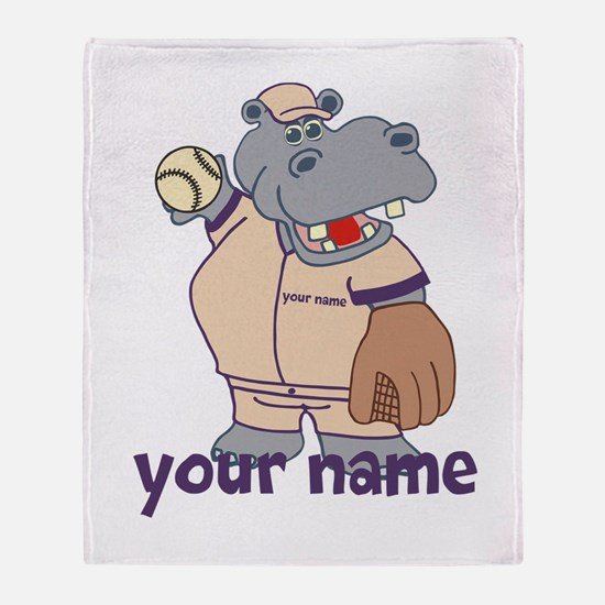 Personalized Softball Hippo Throw Blanket