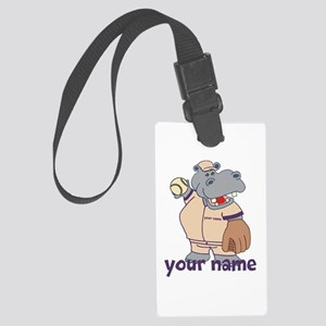 Personalized Softball Hippo Large Luggage Tag