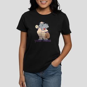 Personalized Softball Hippo Women's Dark T-Shirt
