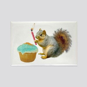 Squirrel Candle Cupcake Rectangle Magnet