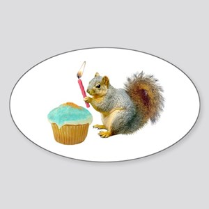 Squirrel Candle Cupcake Sticker (Oval)