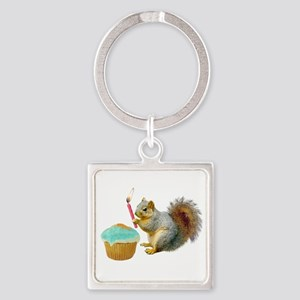 Squirrel Candle Cupcake Square Keychain