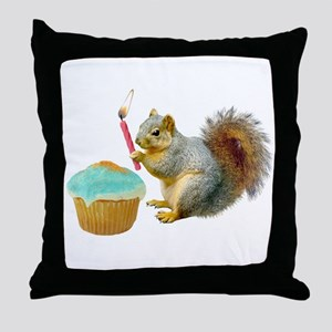 Squirrel Candle Cupcake Throw Pillow