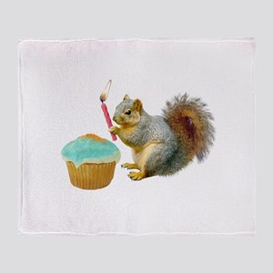 Squirrel Candle Cupcake Throw Blanket