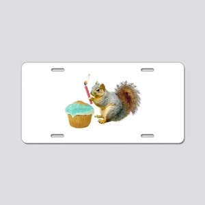Squirrel Candle Cupcake Aluminum License Plate
