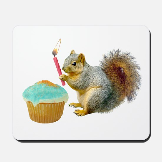 Squirrel Candle Cupcake Mousepad