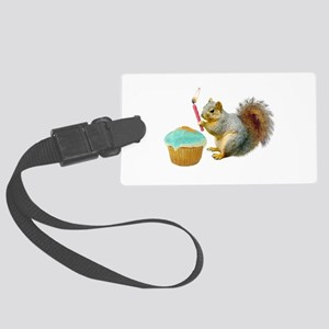Squirrel Candle Cupcake Large Luggage Tag