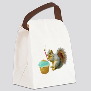 Squirrel Candle Cupcake Canvas Lunch Bag