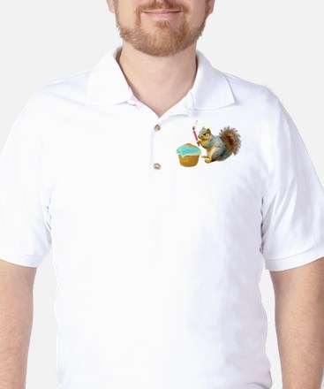 Squirrel Candle Cupcake Golf Shirt