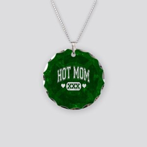 Hot Mom Necklace Circle Charm