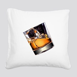 Whisky on the Rocks Square Canvas Pillow