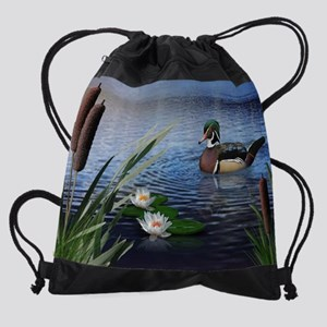Wood Duck Pond Drawstring Bag