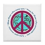 Christian Peace Sign Tile Coaster