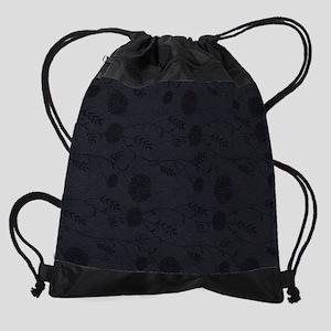Black Leather And Flower Effect Drawstring Bag