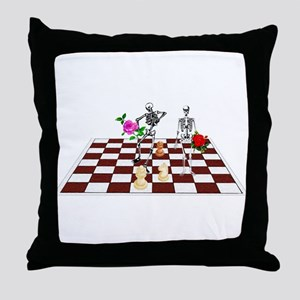 Chess Skeletons Throw Pillow