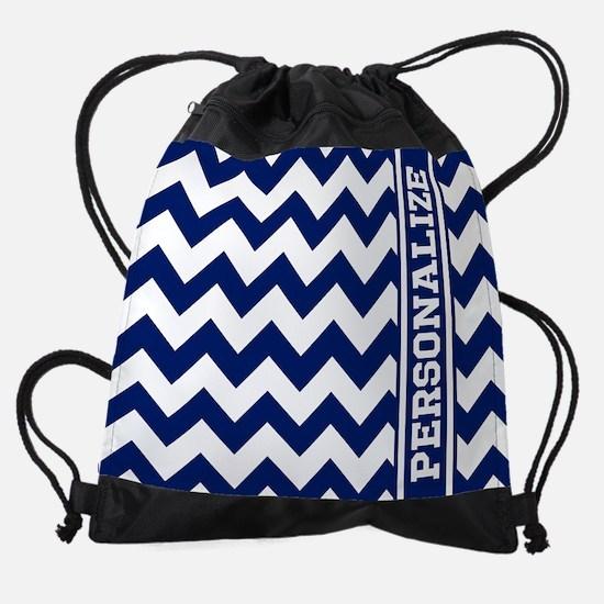 Personalized Blue Chevron Pattern Drawstring Bag