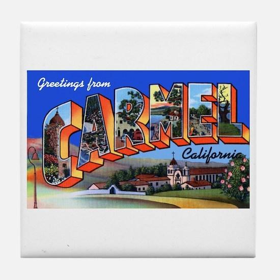 Carmel California Greetings Tile Coaster