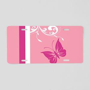stylish buterfly florish in Aluminum License Plate