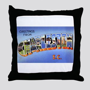 Charleston South Carolina Greetings Throw Pillow