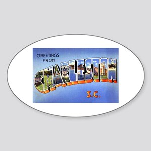 Charleston South Carolina Greetings Oval Sticker
