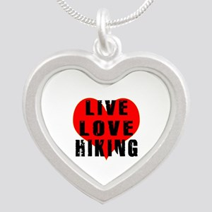 Live Love Hiking Silver Heart Necklace