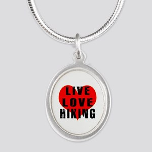 Live Love Hiking Silver Oval Necklace