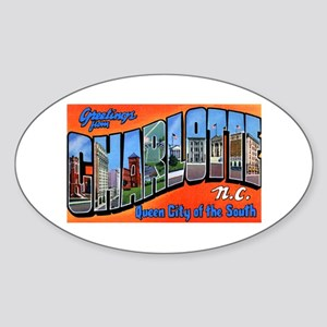 Charlotte North Carolina Greetings Oval Sticker