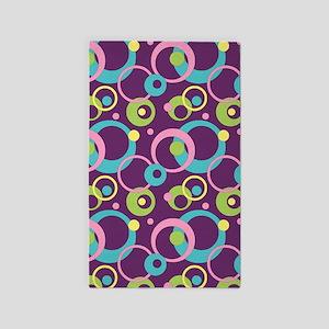 Funky Purple Circles 3'x5' Area Rug
