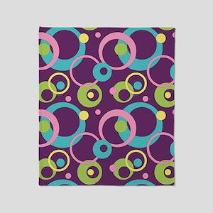 Funky Purple Circles Throw Blanket