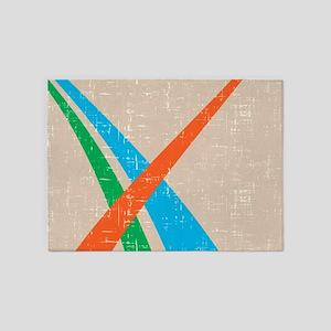 Retro abstract split complimentary 5'x7'Area Rug