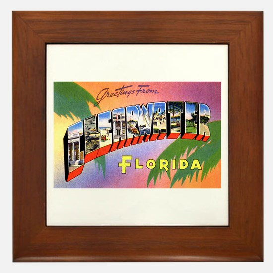 Clearwater Florida Greetings Framed Tile