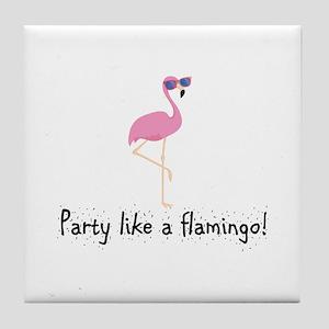Party Like A Flamingo Tile Coaster