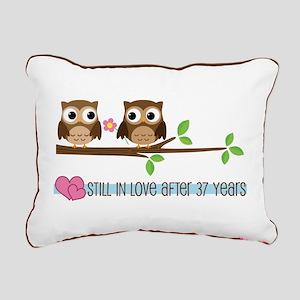 Owl 37th Anniversary Rectangular Canvas Pillow