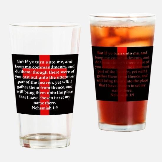Nehemiah 1:9 Drinking Glass