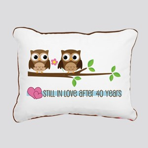 Owl 40th Anniversary Rectangular Canvas Pillow