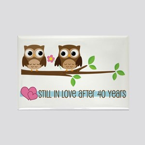 Owl 40th Anniversary Rectangle Magnet