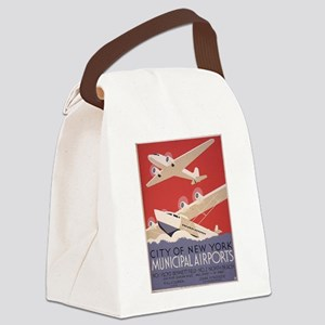 Retro Airplanes New York Canvas Lunch Bag
