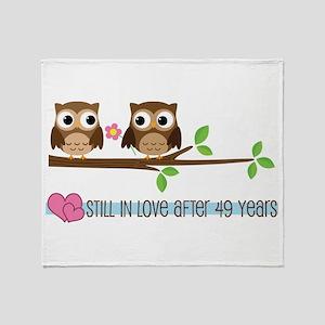 Owl 49th Anniversary Throw Blanket