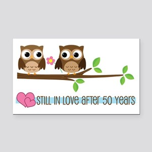 Owl 50th Anniversary Rectangle Car Magnet