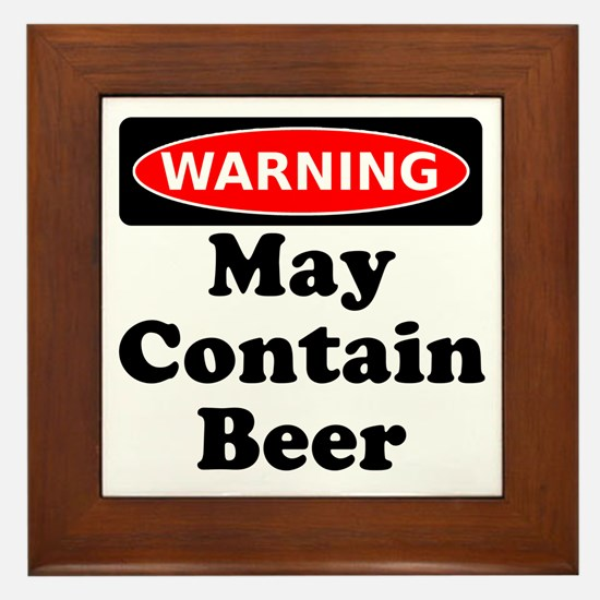 Warning May Contain Beer Framed Tile