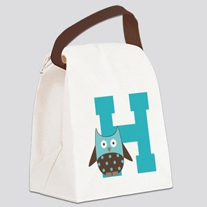 Letter H Monogram Initial Owl Canvas Lunch Bag